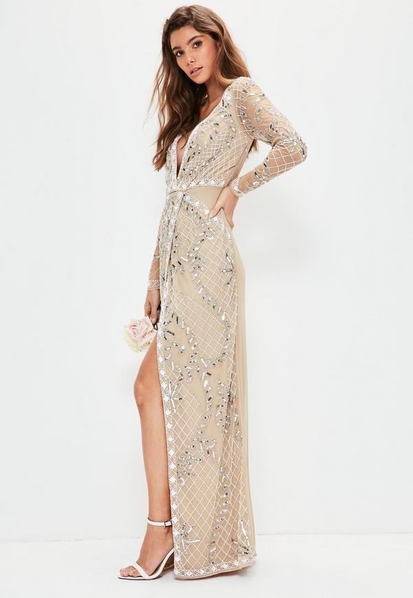 1973b0aecffc7 Bridal Nude Long Sleeve Plunge Embellished Maxi Dress | wedding ...