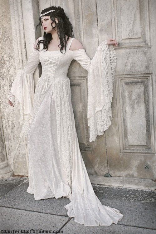 Gwendolyn Medieval Velvet And Lace Wedding Gown By RomanticThreads 46500