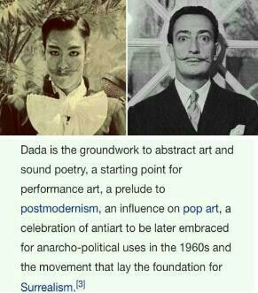 """Dada, by its own non-philosohy, could actually be called not a movement or non-movement. It was loosely composed of artists or non-artists, who found refuge in Zurich. Dada was a reaction to WWI, and the non-art or """"anti-art"""" was the result of the outrage of the non-artists. The overall belief was that the existing capitalist society had led people to war."""