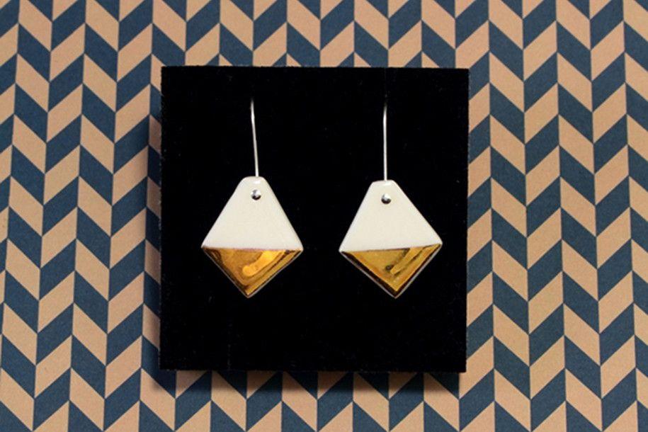Gold Diamond Earrings by Erin Lightfoot