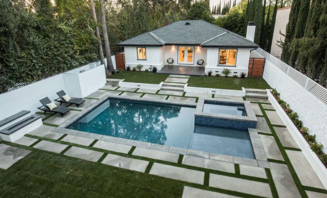 Rectangle Pool Square Jacuzzi With Baja Shelf Rectangle Pool Pool Houses Pool Remodel