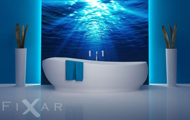 Strahlen unter Wasser | Fototapeten fürs Badezimmer | Pinterest ...
