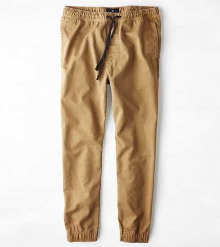 These are Khaki jogger pants with a waist adjust string from American Eagle  Outfitters. If you like the pants go and check out the website www.ae.com f4e410950e4a
