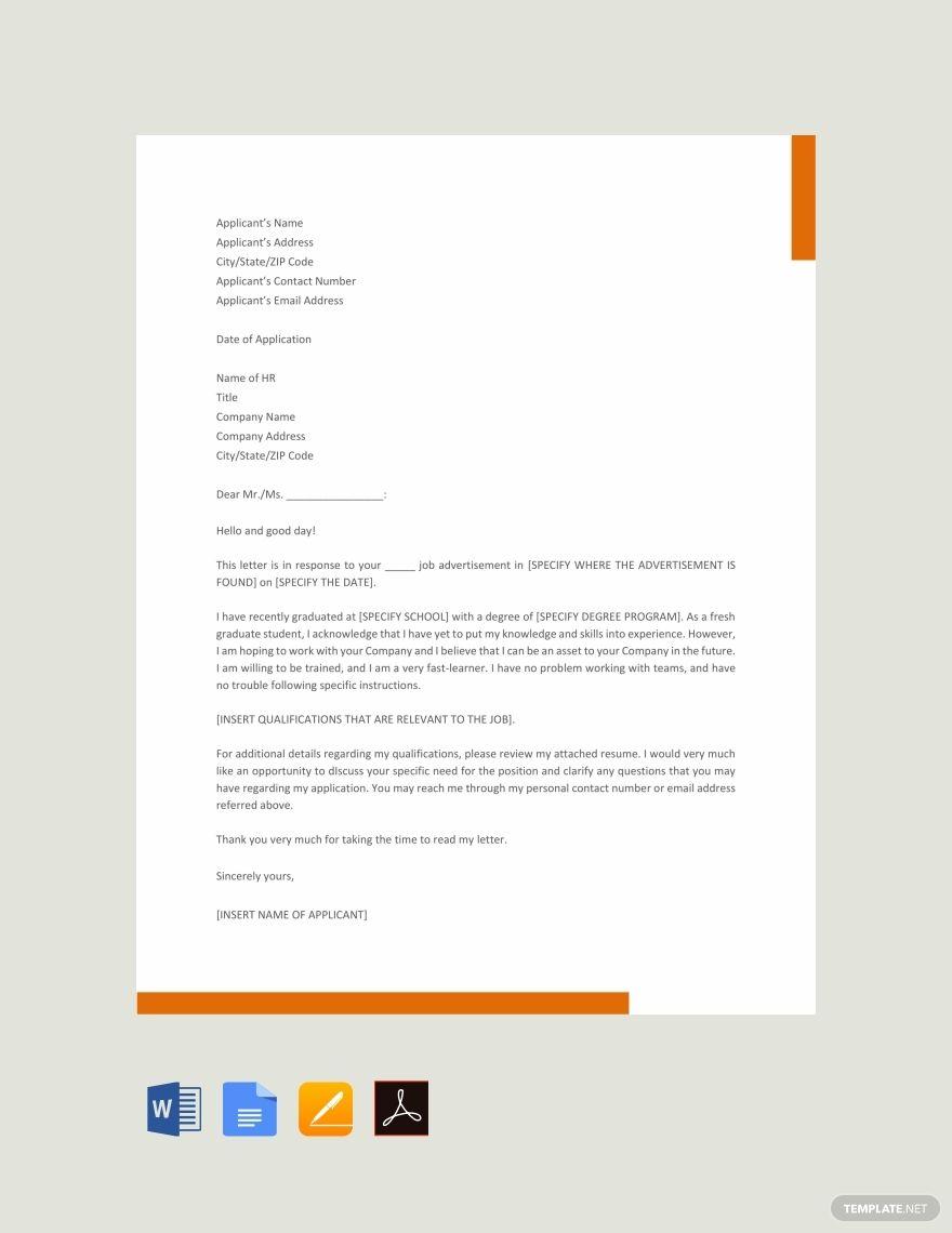 Free Graduate Job Application Letter Application Letters Job