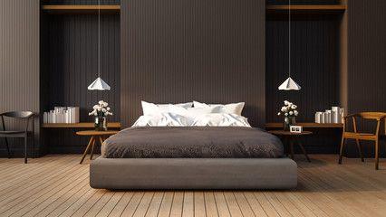 loft and modern bedroom 3d render image