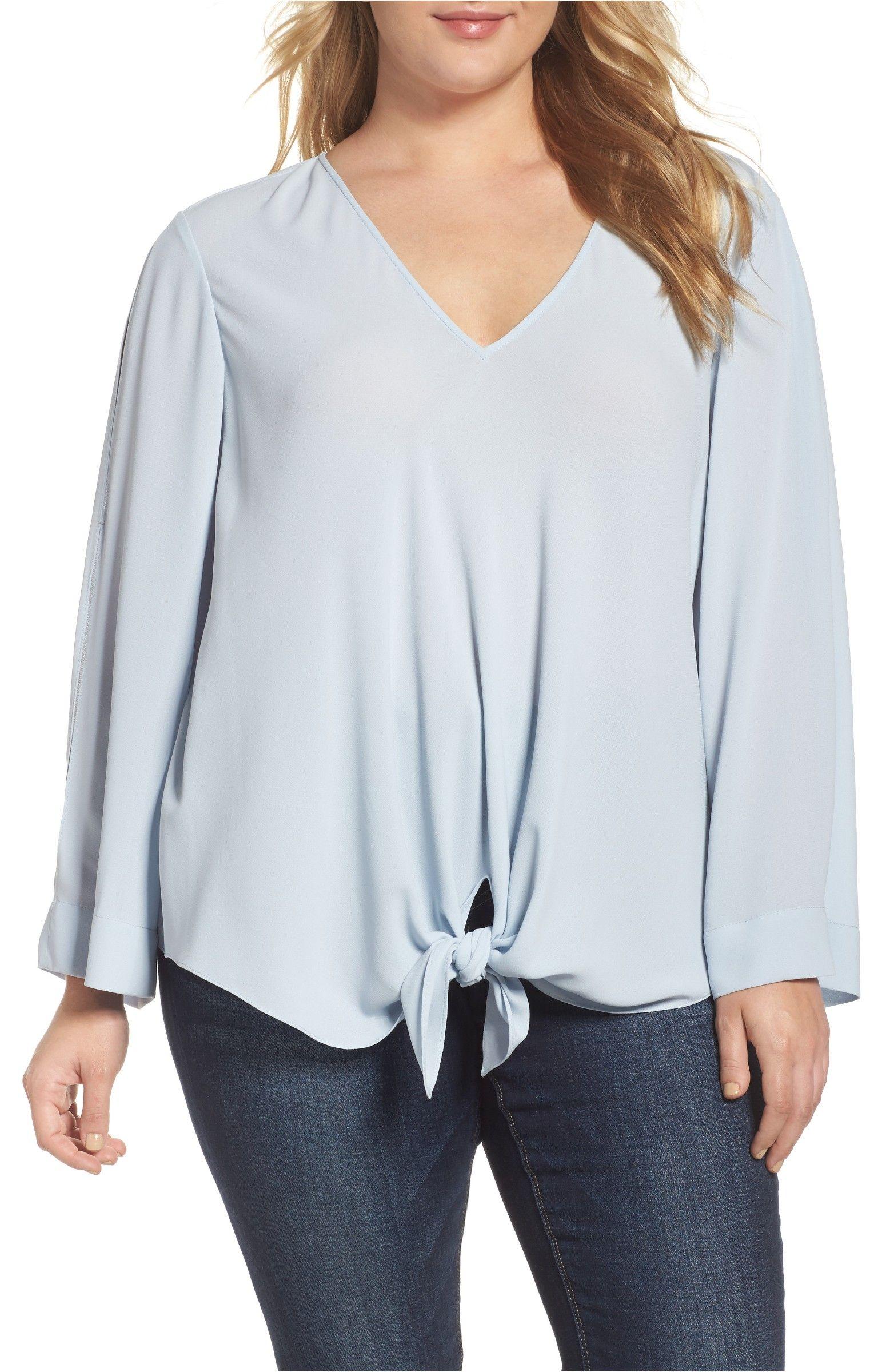 065489099bdb9 Main Image - RACHEL Rachel Roy Tie Front Blouse (Plus Size)