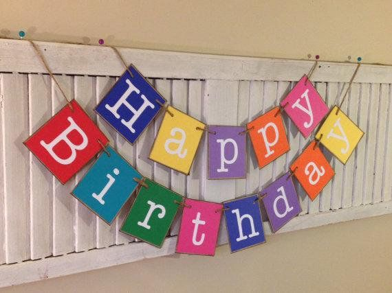 Happy Birthday Banner Garland Sign Bunting Colorful Farmhouse Party Decoration Can Add Personalized Name