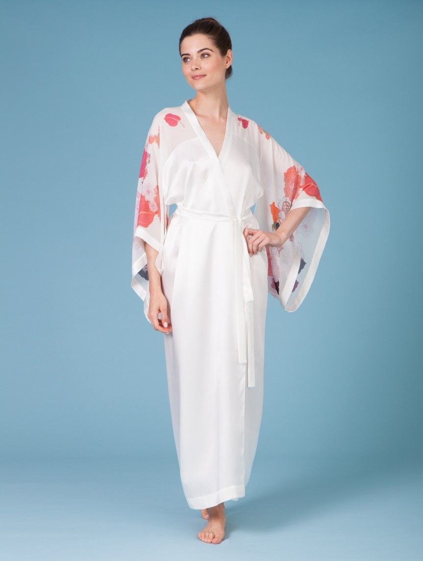54e632ab4 Printed white orange georgette silk kimono robe butterfly lovers ...
