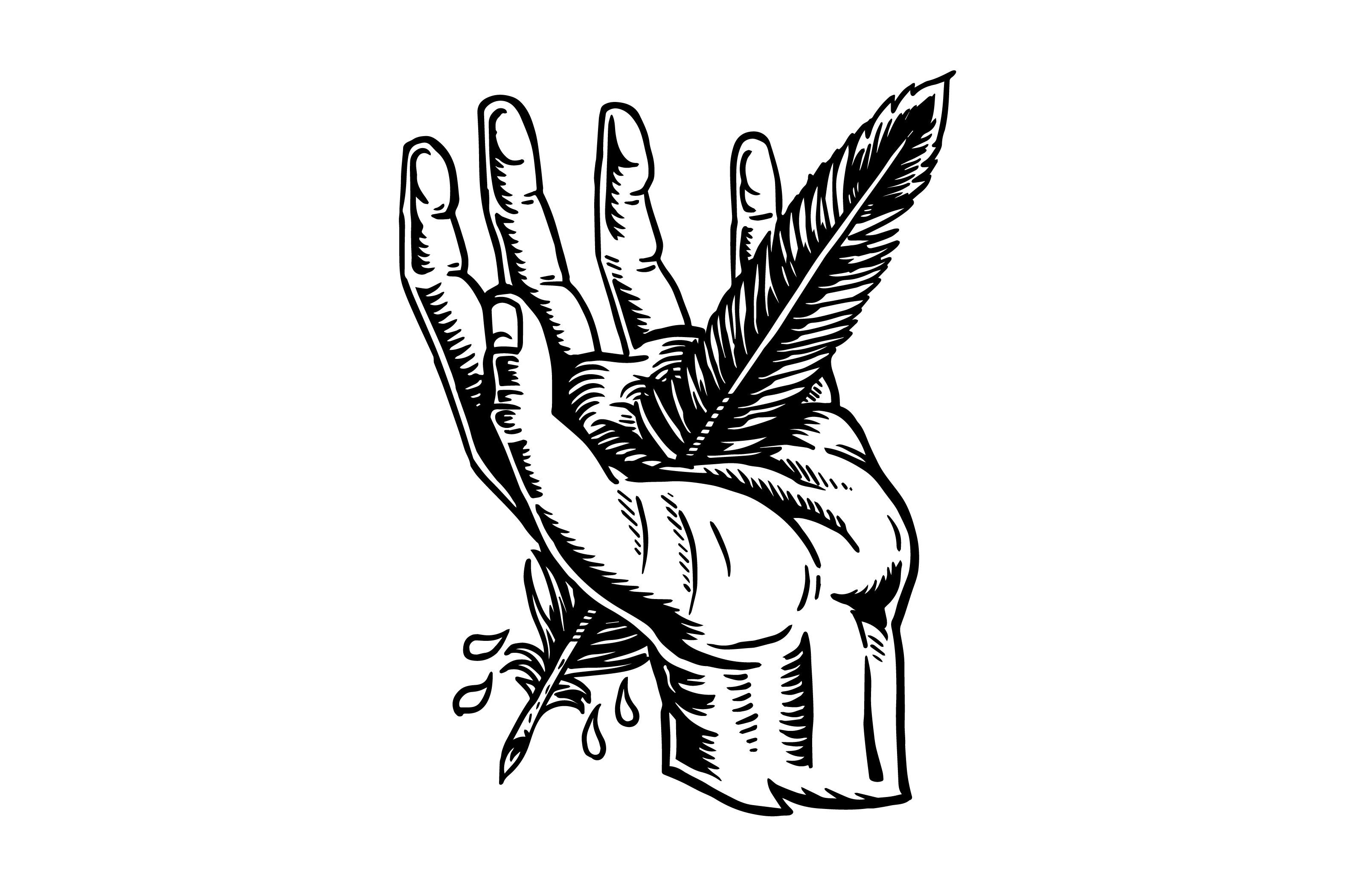 Line Drawing Feather : Feather in the hand by straw castle on creativemarket