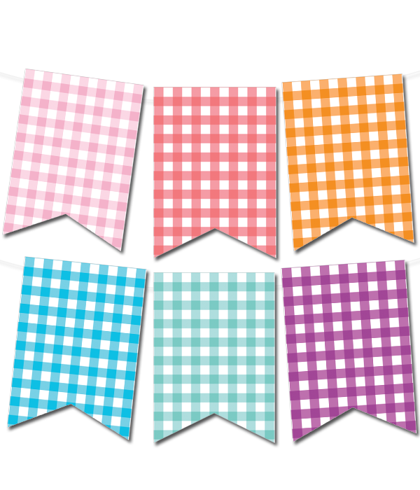 graphic about Printable Banner Maker named Gingham Pennant Banner (within just 12 shades) papéis Absolutely free