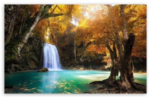Download Waterfall Hd Wallpaper Erawan National Park Waterfall