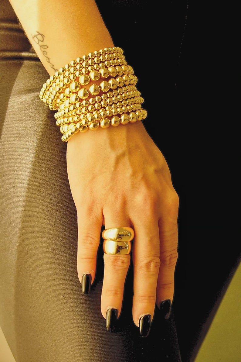 Gold Bead Bracelet 18k Gold Filled Beaded Bracelet | Etsy