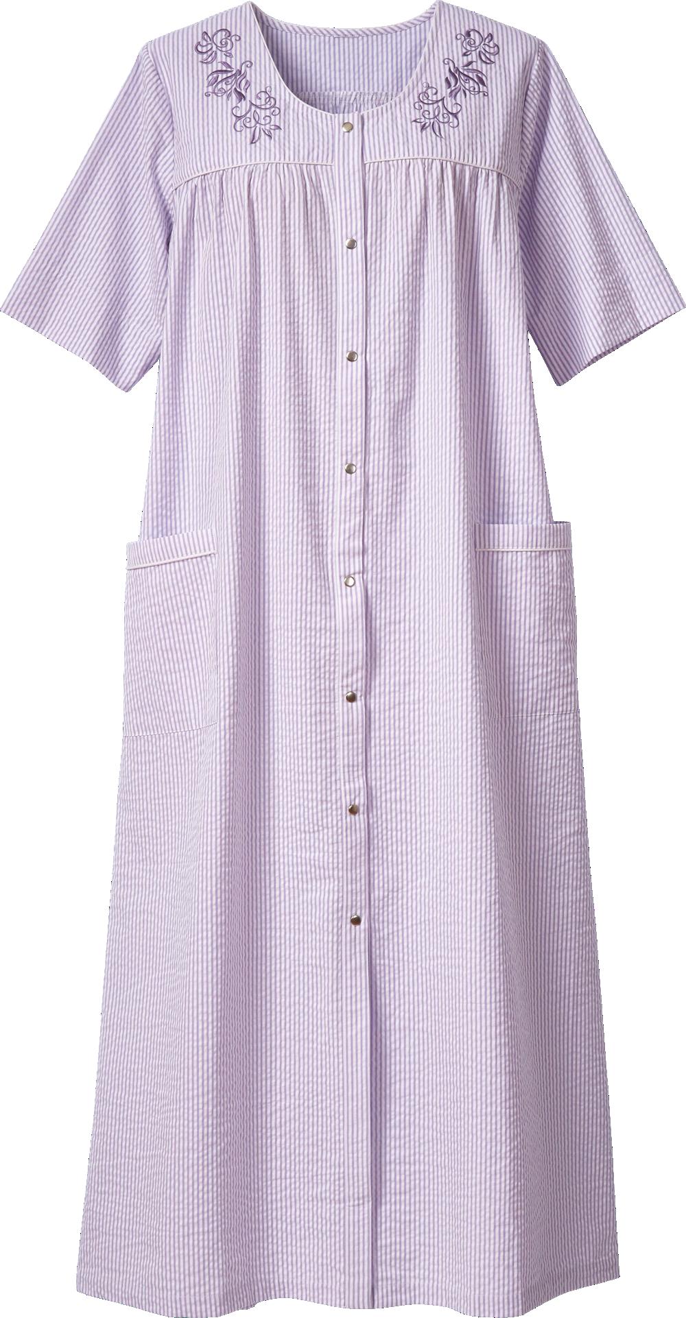 Seersucker Embroidered Robe Night Gown Dress Cotton Night Dress