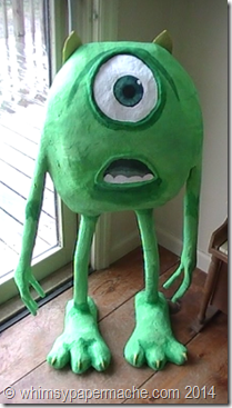 How 2 Make Monster Inc  Mike with Paper Mache or Paper Clay   paper