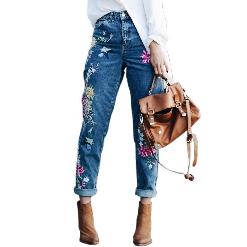 Flower blue jeans embroidered mom jeans