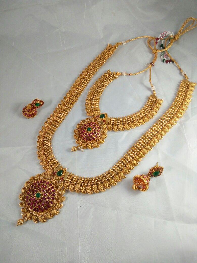 6e1929cb39fcc South Indian Mango Double Long Necklace Set | South Indian Imitation ...