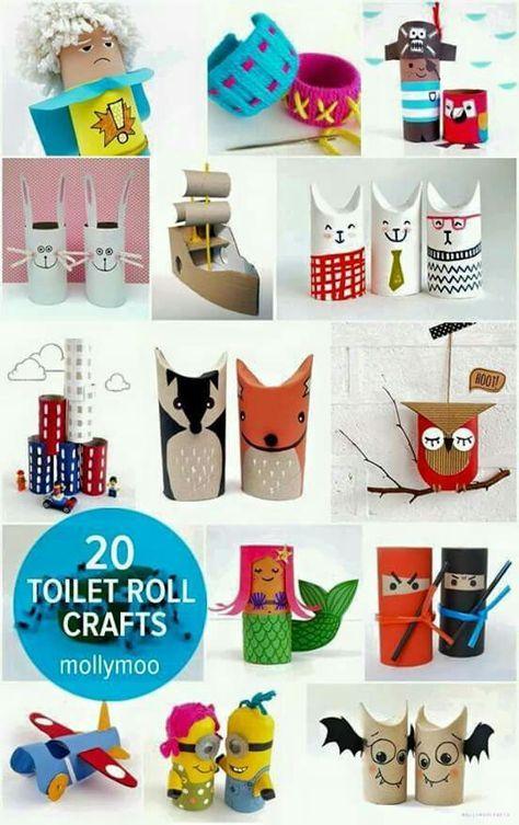 20 cute toilet roll crafts for young hands nature pinterest basteln kinder und klo. Black Bedroom Furniture Sets. Home Design Ideas