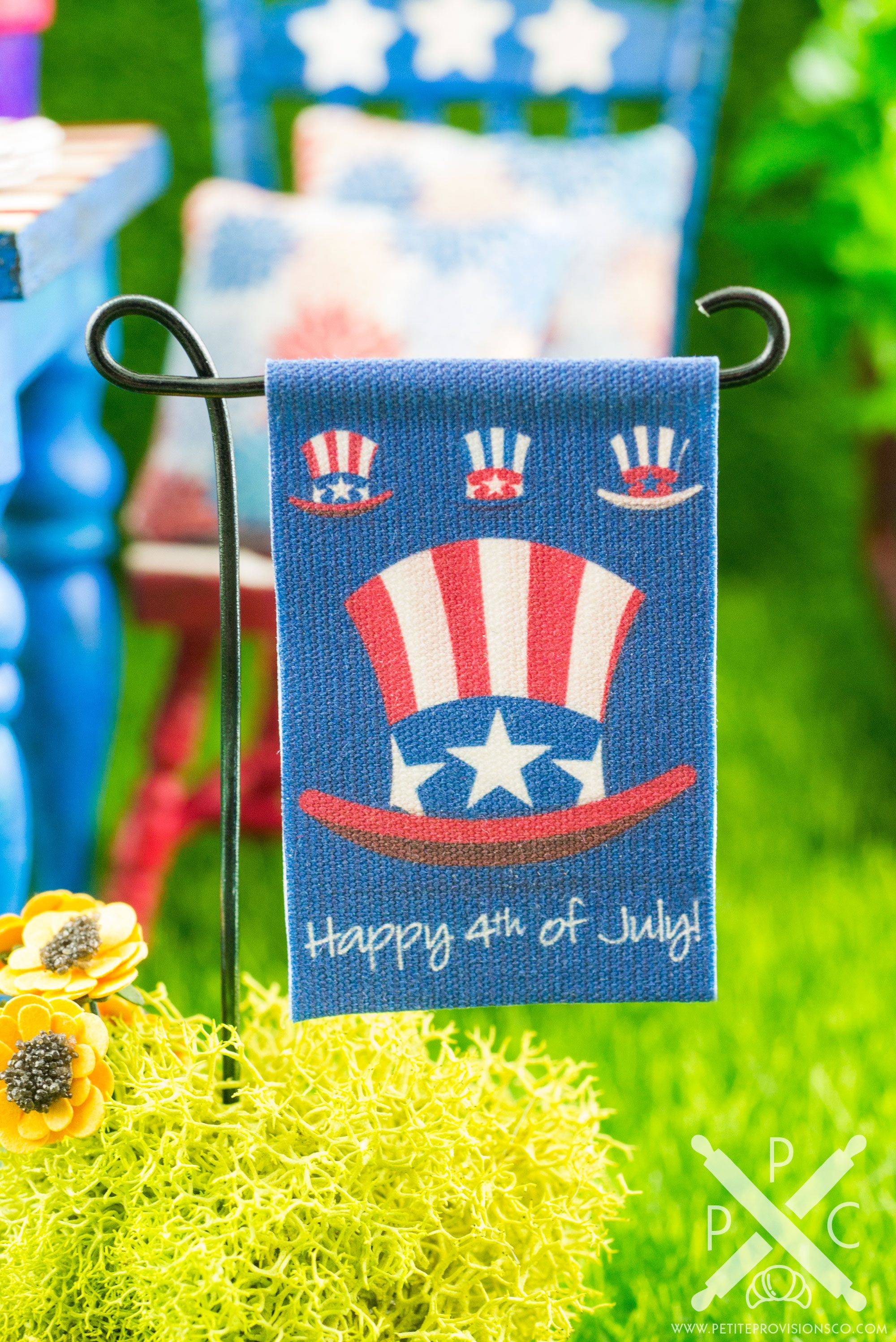 Miniature     4th July Patriotic  Poster Print Dollhouse 1:12 Scale