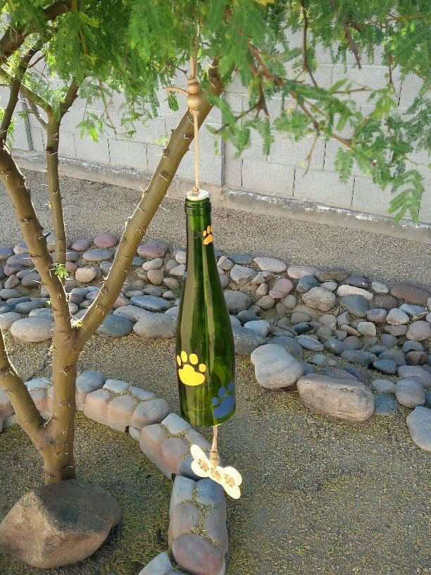Wine bottle wind chime dog memorial recycled bottle art unique