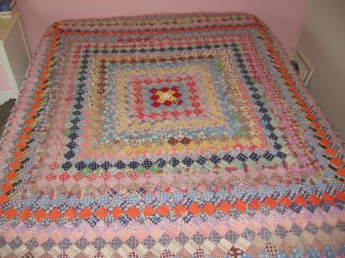 """Vintage Handmade Patchwork Quilt 82"""" x 70"""" Colorful Special Piece   eBay"""