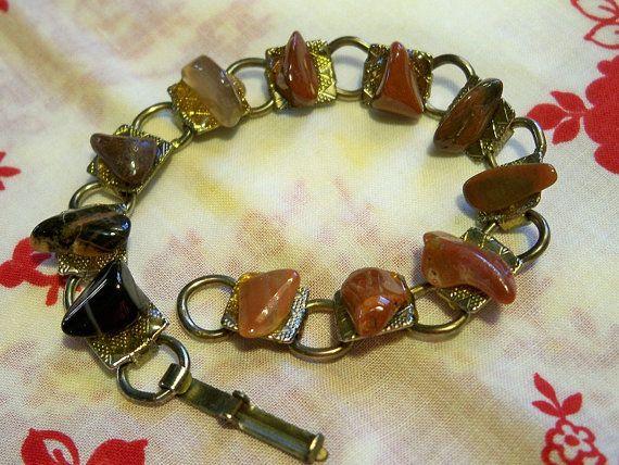 Vintage 1950s Amber Rock Agate Bracelet Artisan Tribal by BlackRain4, $34.99
