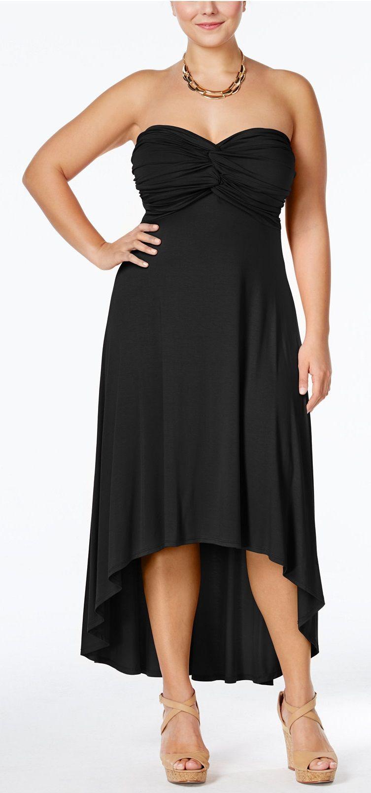 c06a307d83d Plus Size Strapless High-Low Maxi Dress