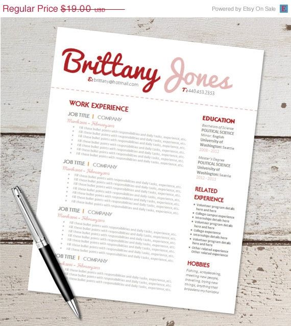 Sale Instant Download  Resume Design Template  Microsoft Word