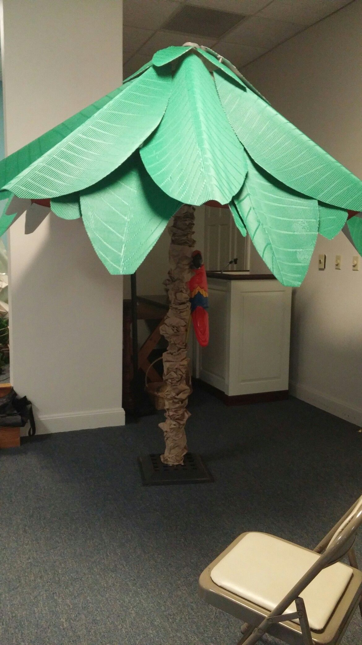 Shipwrecked Vbs Deck Umbrella Covered In Brown Paper