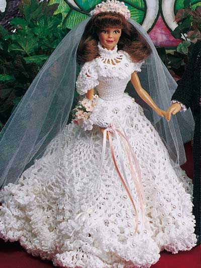 Crochet - Doll Patterns - Doll Clothes Patterns - Fashion Doll Wedding Gown I