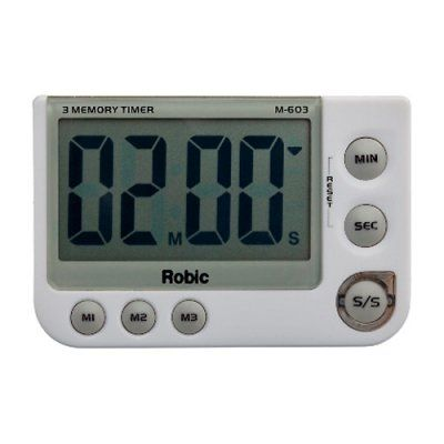 The versatile and easy-to-use Robic M603 Three Memory Stopwatch is perfect for any timed event. It has both countdown and count up functions and can hold three individual preset countdown times.Additional Information:Counts up or down