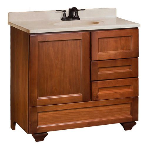 Roma Series 36 W X 21 D Vanity With Bottom Drawer Side Drawers On Right At Menards