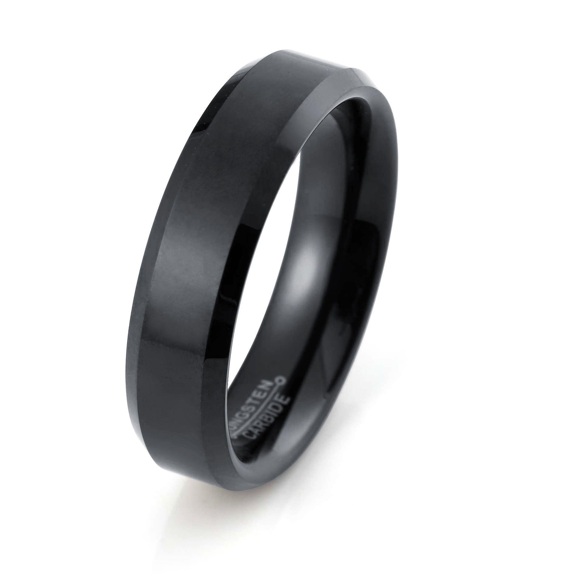 Black Tungsten Ring Polished Black Wedding Band 6mm Tungsten Etsy In 2020 Black Tungsten Rings Black Wedding Band Black Tungsten Wedding Band