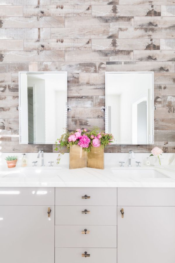 How To Rock Not One But Two Pink Sofas In Your Home Amanda Barnes Shiplap Bathroom Wall Pink Sofa