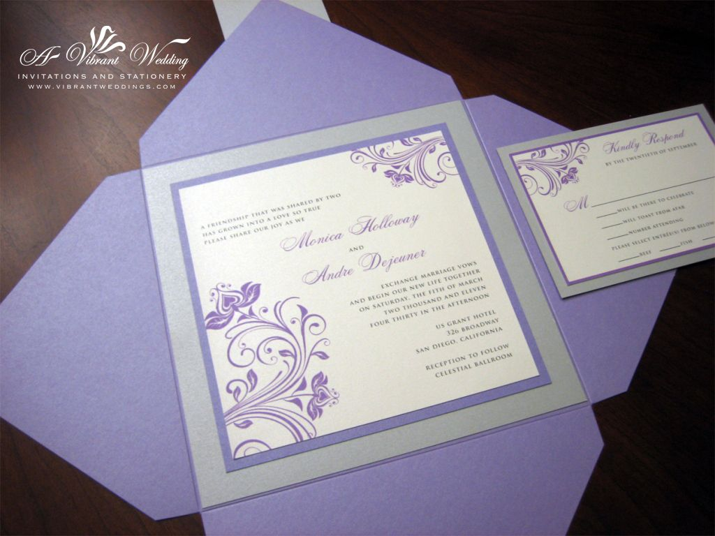 I Could Diy This Style Purple And Silver Wedding Invitations