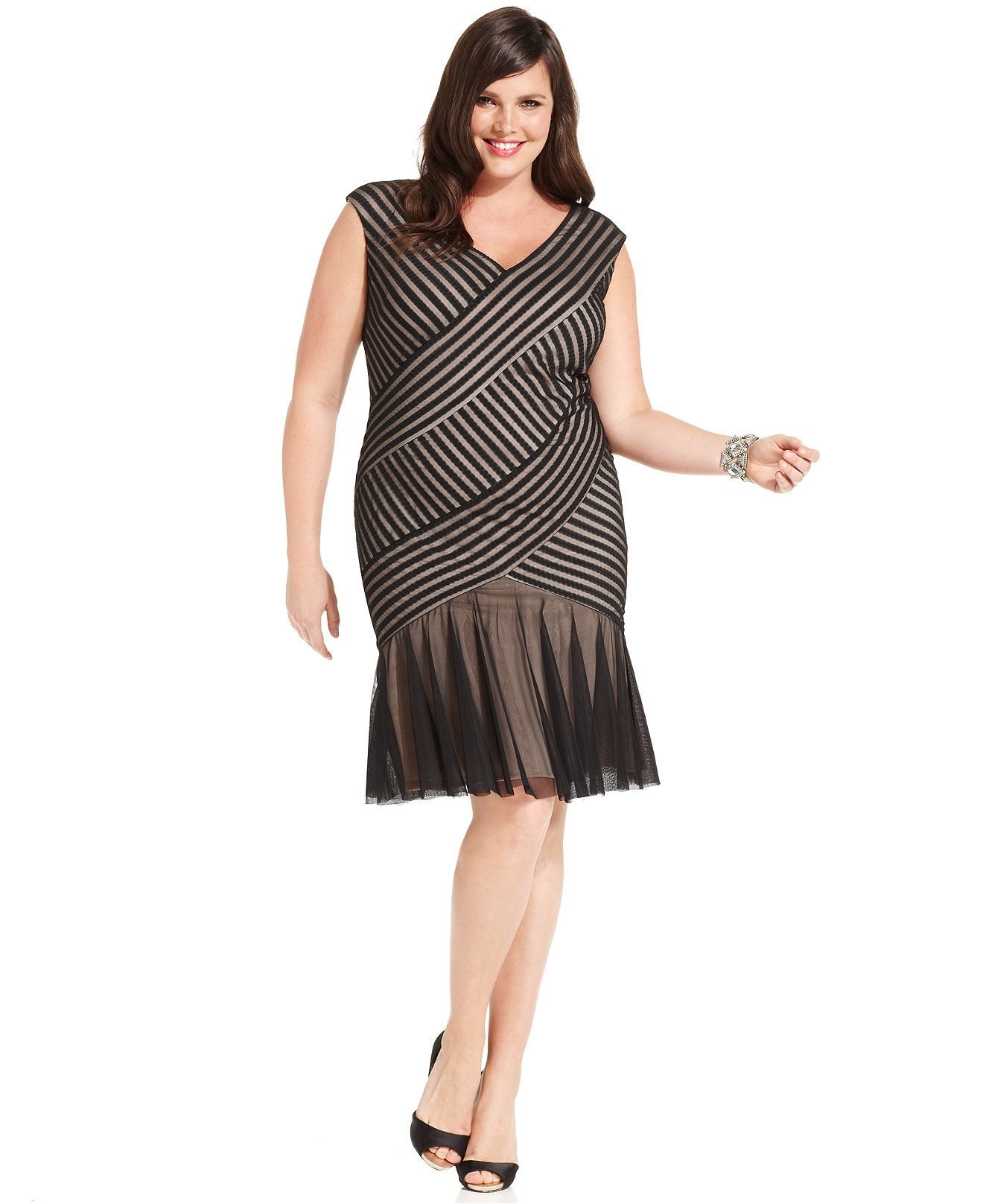 London Times Plus Size Dress Cap Sleeve Illusion Flared Plus Size