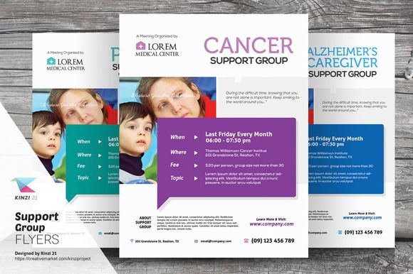 Support Group Flyer Templates by kinzi21 on Creative Market - hospital flyer template