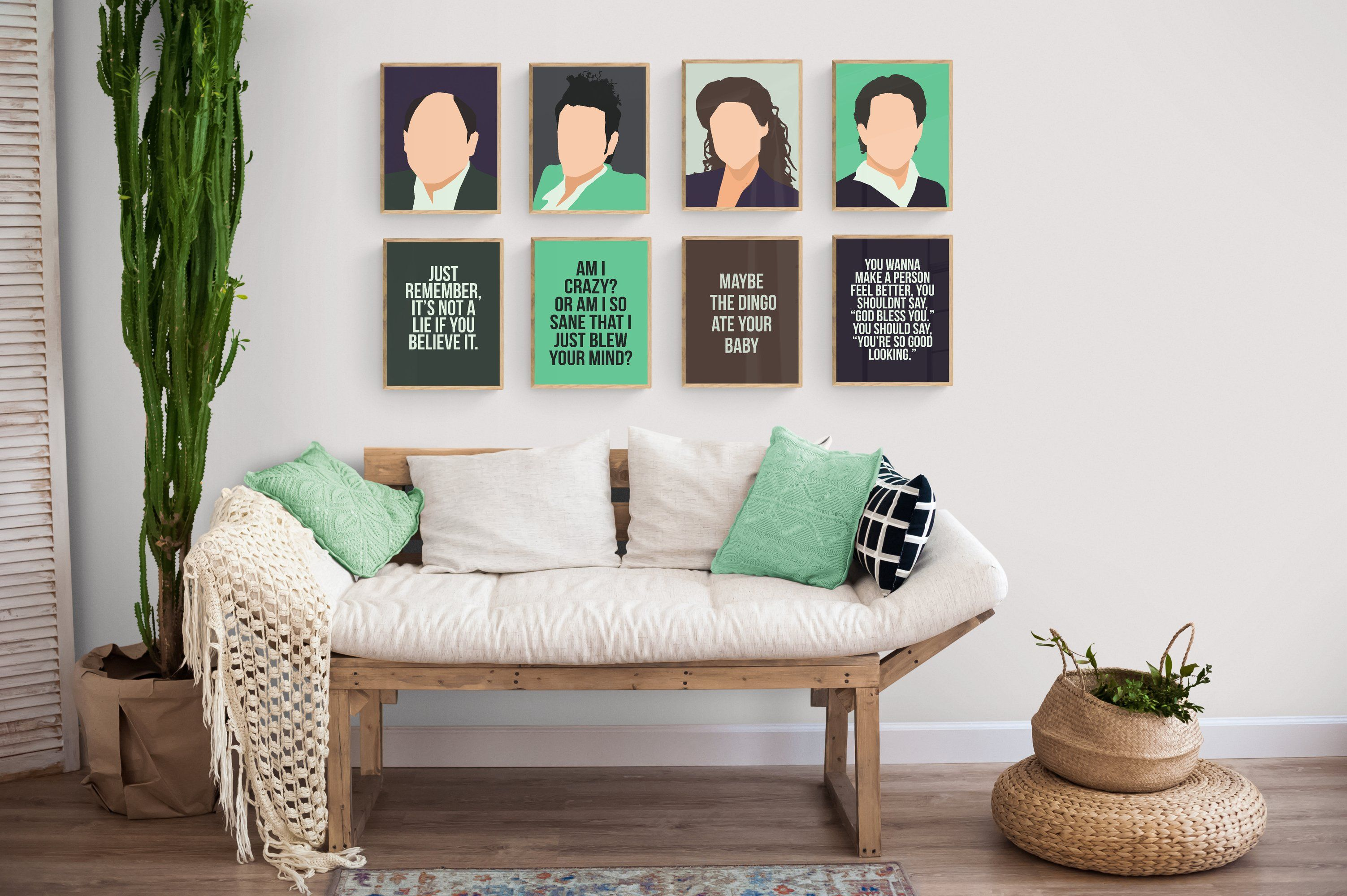 Seinfeld TV Minimal Characters with Quotes Art Set - 5x7