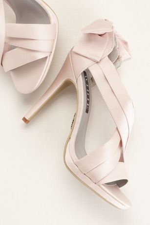 448d3374c5f8b5 White by Vera Wang Satin Platform Sandal with Bow Back Detail at David's  Bridal