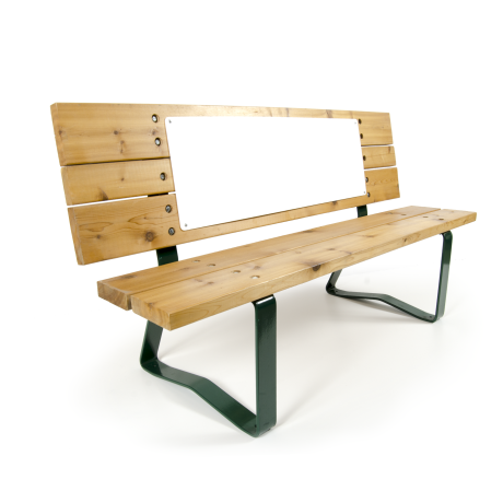 Natural pine bench by Bench Craft Company. It's free for the golf course and local businesses get to advertise on them for a very low annual cost.
