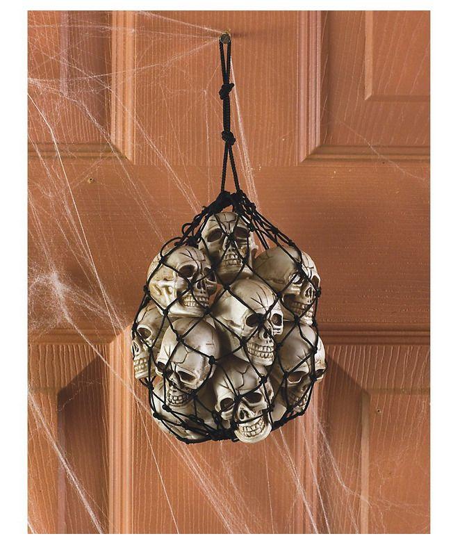 Halloween Hang Decoration Bag Of 12 Natural Looking Bag Skull Heads - bulk halloween decorations