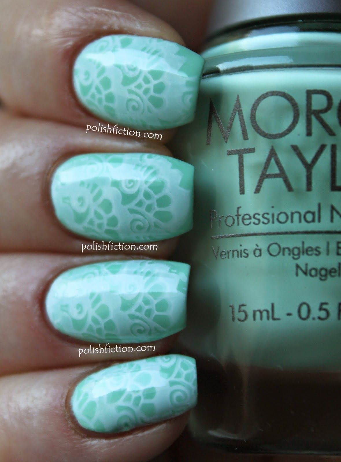 Morgan Taylor Mint Chocolate Chip stamped with MoYou Bridal Collection plate 07 and Cult Nails' Tempest