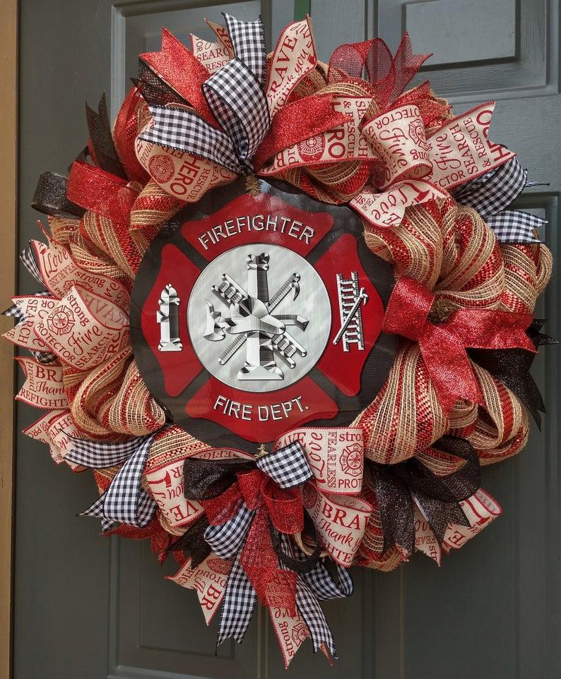 Photo of Firefighter wreath, firefighter gift, fireman decorative mesh wreath, fireman door wreath, thin red line wreath, Maltese cross, hero wreath