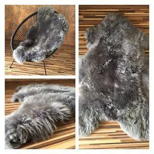 M 100 cm Dark Grey British Genuine Sheepskin Soft Real Fur ...