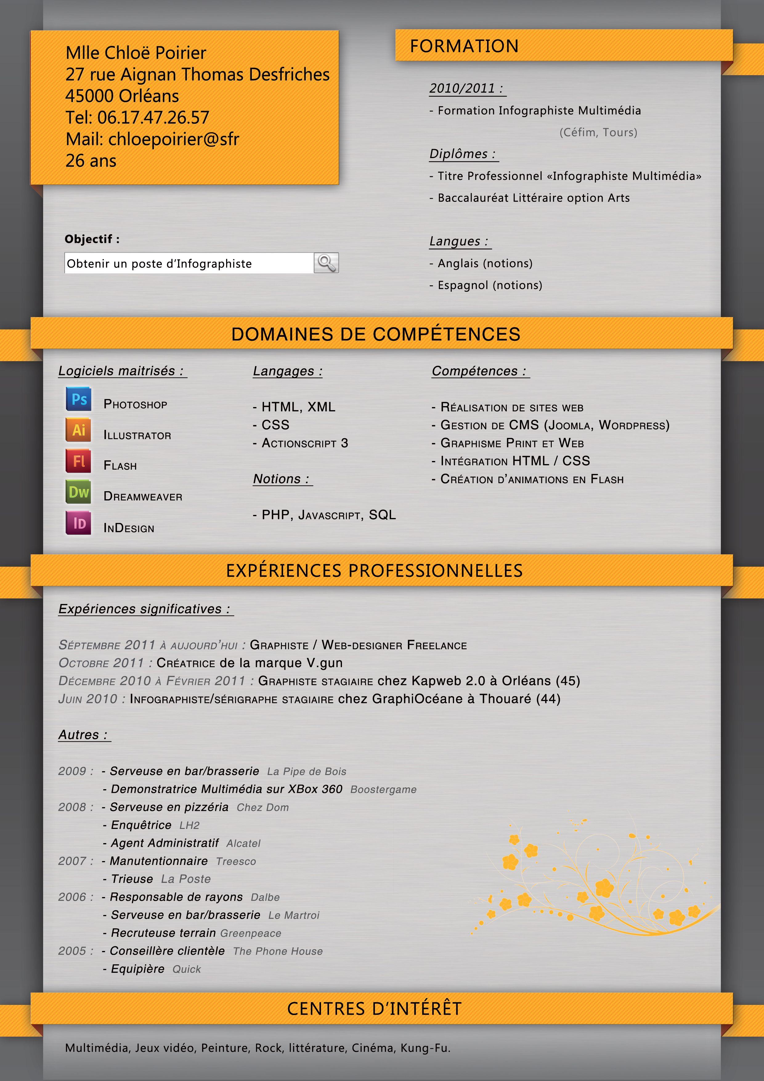 Mon Cv Maitrise De Soi Infographiste Baccalaureat