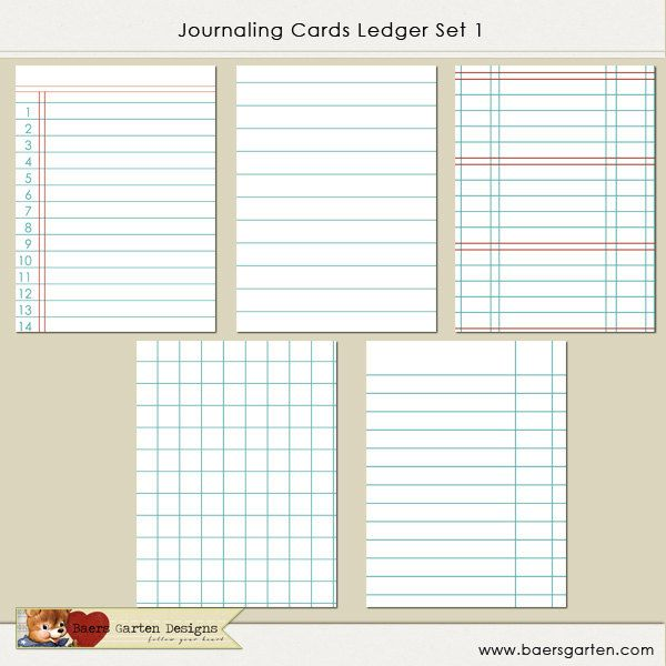 PRINTABLE Journaling Cards Ledger Set 1 Project Life Pinterest - printable ledger