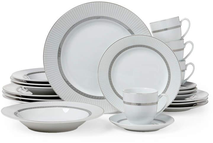 20 Piece White Silver Tone Dinnerware Set Dinnerware Set
