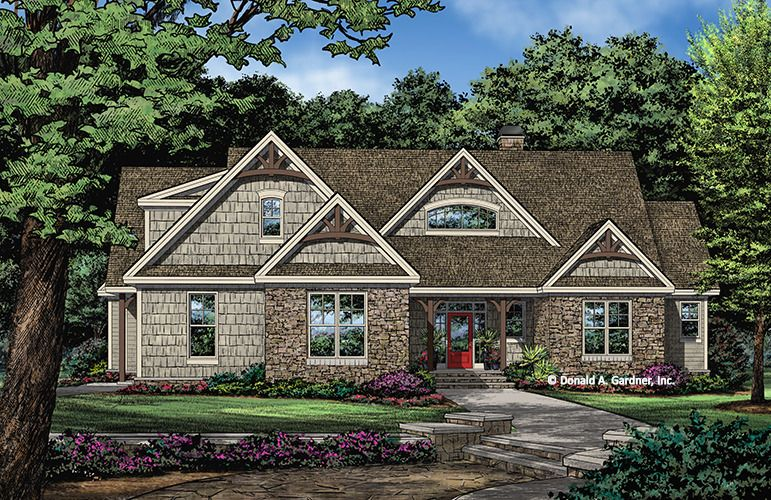 House Plan The Janson W Goo 1412 This Efficient One Story Home Plan Features A Mix Of Stone Craftsman Style House Plans Craftsman House Plans New House Plans
