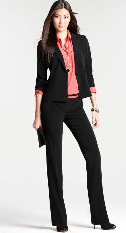 black pant suit x Ann Taylor w/ coral accents   skirttheceiling ...