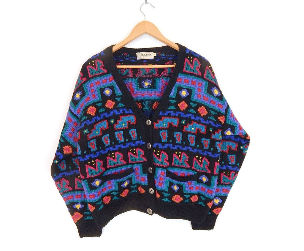 80s Vintage Oversized Cropped LL Bean Wool Sweater - Size Small ...
