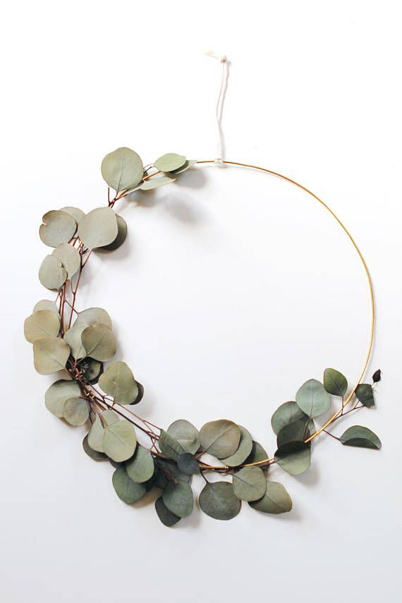 Modern Wreath   Eucalyptus Wreath   Scandinavian Wreath   Minimalist ...